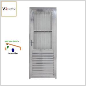 Porta de Giro Postigo Alumínio Brilhante c/Vidro+Grade